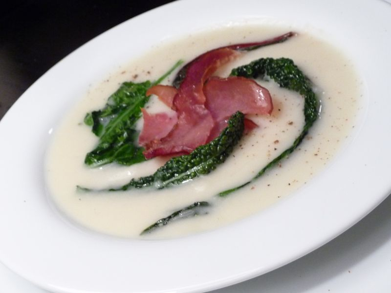 Turnip ginger soup with ham