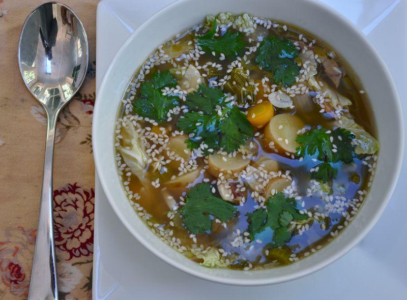 Asian pork broth soup