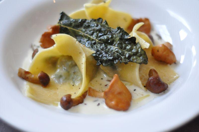Mushroom Kale Ravioli Caraway Cream Sauce