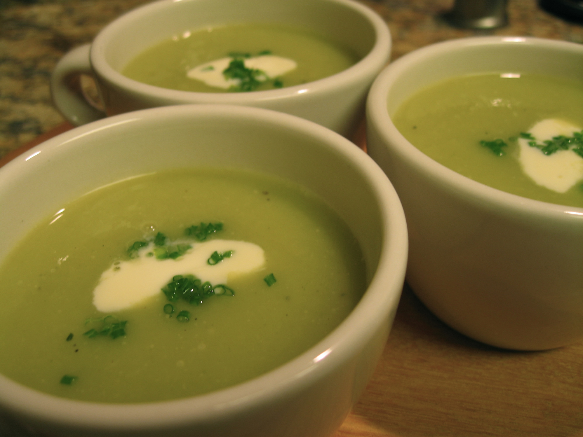 Vichyssoise with Crab garnished with Crème Fraîche and Chives